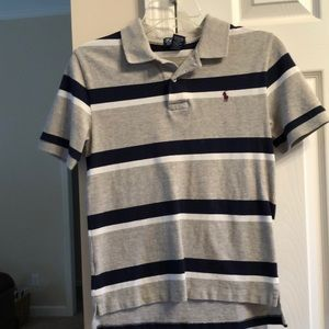 RL Polo.  Size M.  Gray, navy, and white.